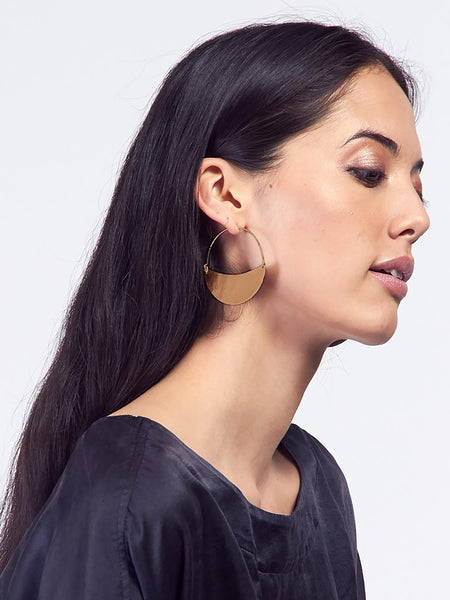 Crescent Hoops Small Brass by Lila Rice
