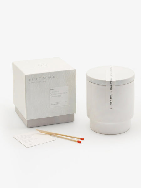 Pure White Candle by Night Space