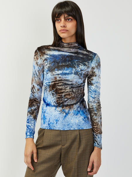 Cardio Nova Top - Blue/Brown Velvet by Collina Strada