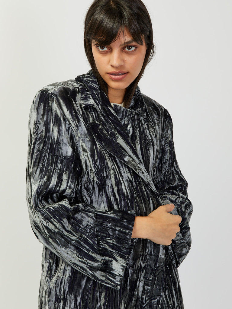 Easy E Jacket - Grey Crushed Velvet by Collina Strada