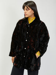 Shelter Jacket - Black Tie Dye Crushed Velvet