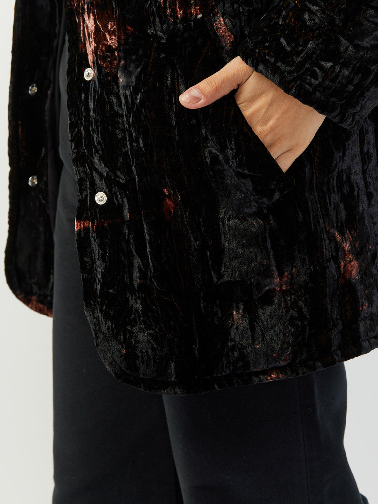 Shelter Jacket - Black Tie Dye Crushed Velvet by Collina Strada