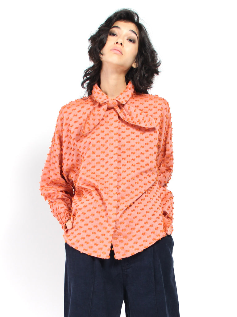 Zaha Tie Neck Top - Pink/Quince by House Dress