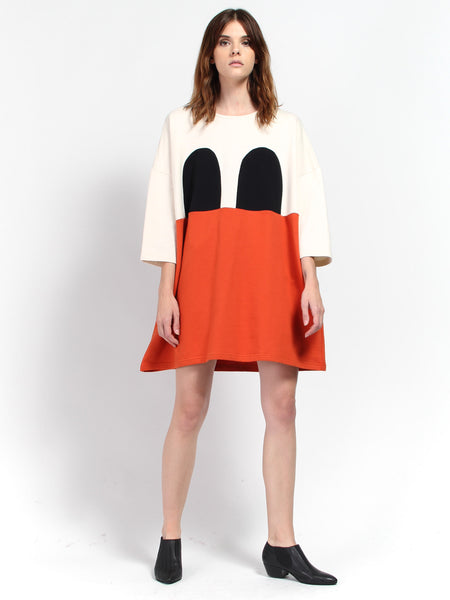 Mickey Square Dress - Black/Orange by RH