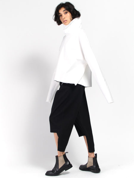 Raw Canvas Turtleneck - White by Ashley Rowe