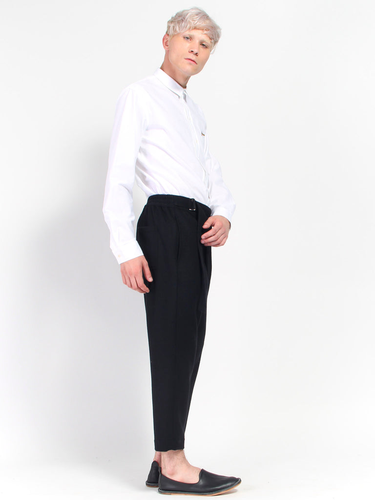 Wool Melton Asymmetrical Pant by Deveaux