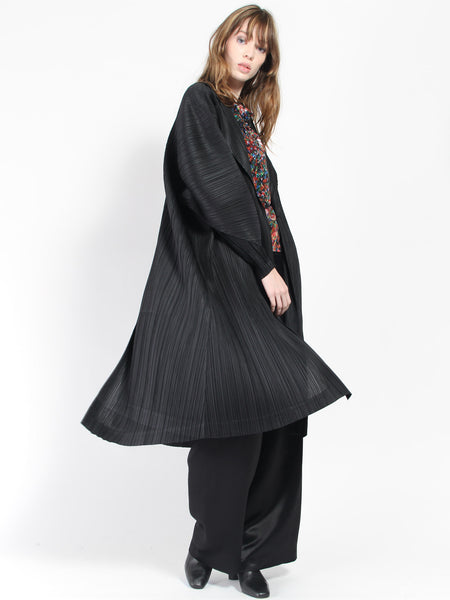 Pleats Open Trench - Black by Issey Miyake Pleats Please