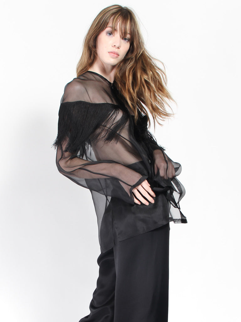 Marco Button Up- Black Fringe by Collina Strada