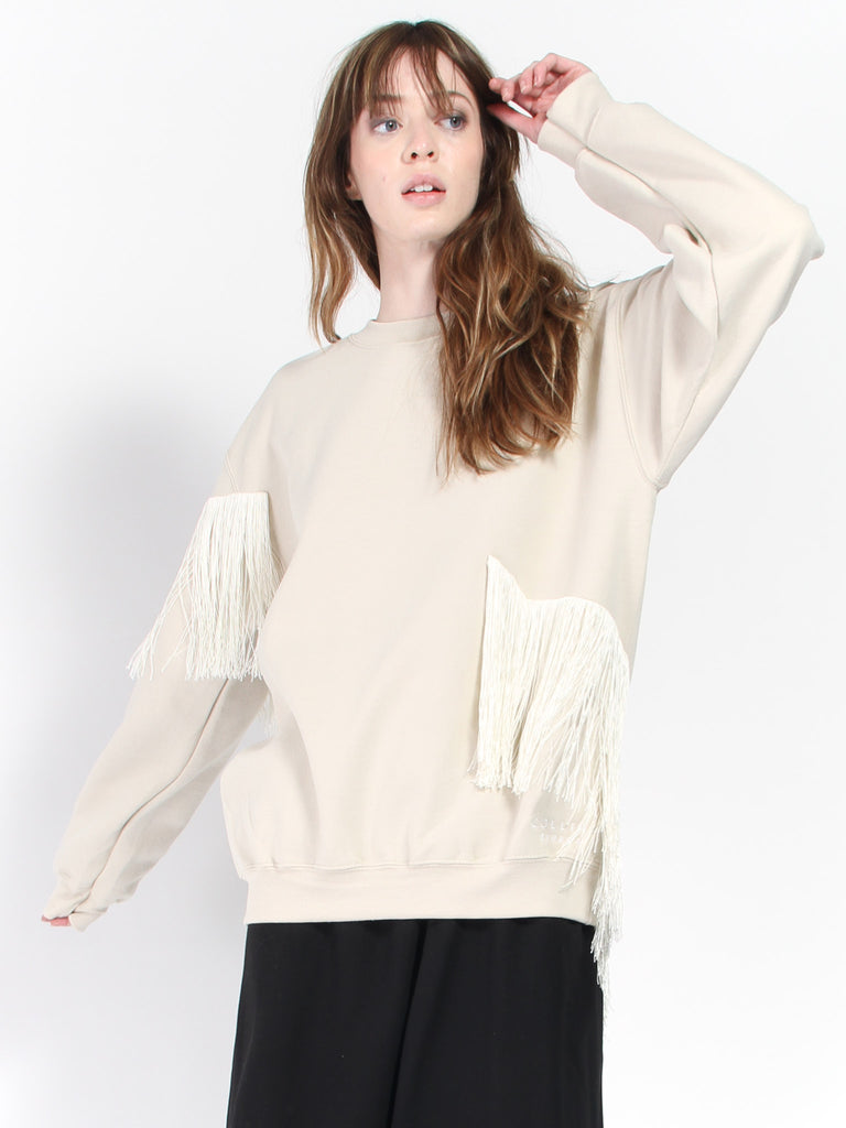 Fringe Sweatcrew- Sand by Collina Strada