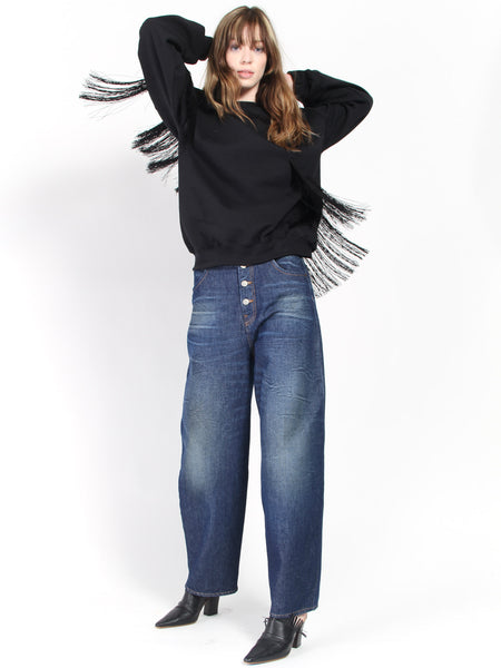 Fringe Sweatcrew- Black by Collina Strada