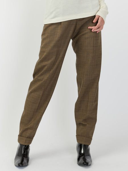 Star Trousers - Brown Plaid by Hope