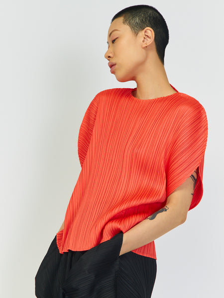 Curved Top - Bright Red by Issey Miyake Pleats Please