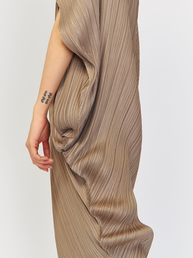 Curved Dress - Ash Gray by Issey Miyake Pleats Please