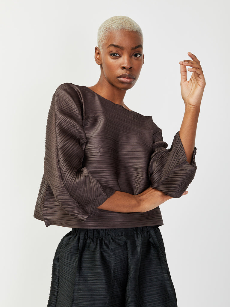 Tucked Bounce Top - Charcoal by Issey Miyake Pleats Please