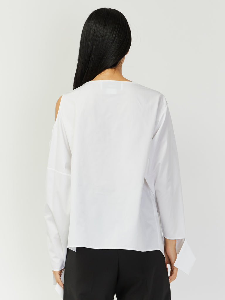 Cold Shoulder Asymmetrical Shirt by Ji Oh
