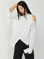 Cold Shoulder Asymmetrical Shirt