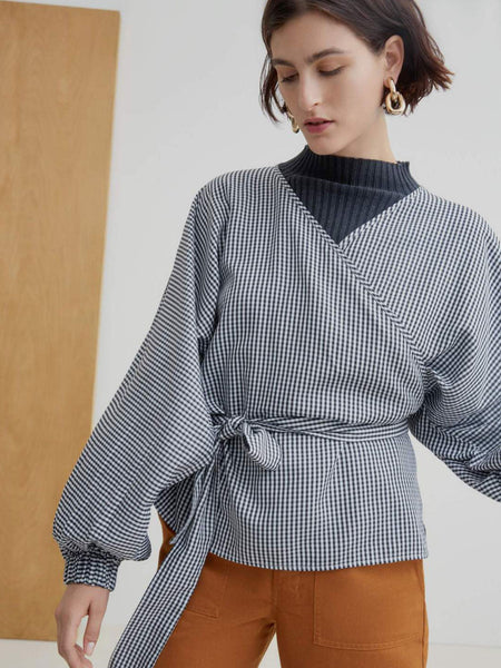 Moma Wrap Top - Gingham by Kowtow
