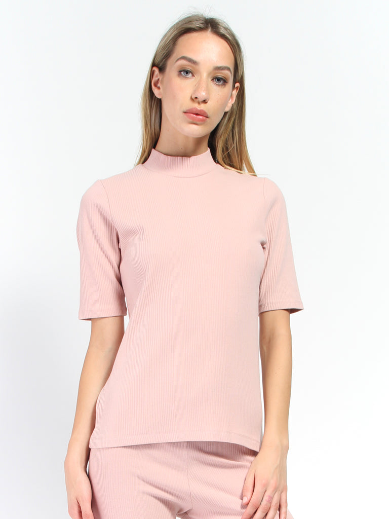 Rib High Neck Top by Kowtow