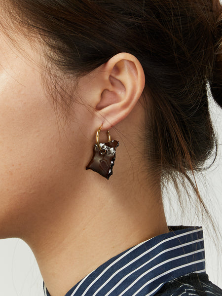Bits Hoop Earrings - Dark Brown by Levens