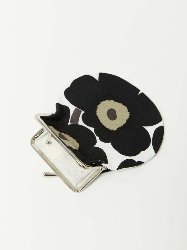 Pieni Kukkaro Mini Unikko Purse - Black Flower by Marimekko