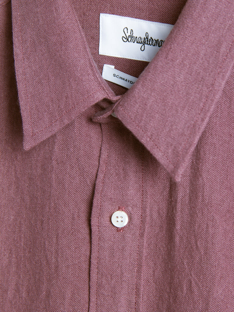 Schnaydermans - Leisure Linen Shirt Burgundy by Schnaydermans