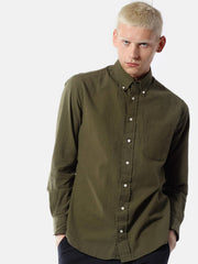 Long sleeve Buttondown - Olive Seersucker