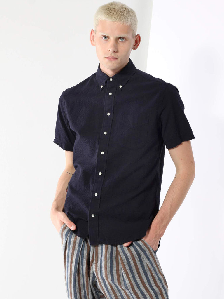 Short Sleeve Buttondown - Navy Seersucker by Gitman Vintage