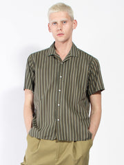 Short Sleeve Camp Shirt - Olive Stripe