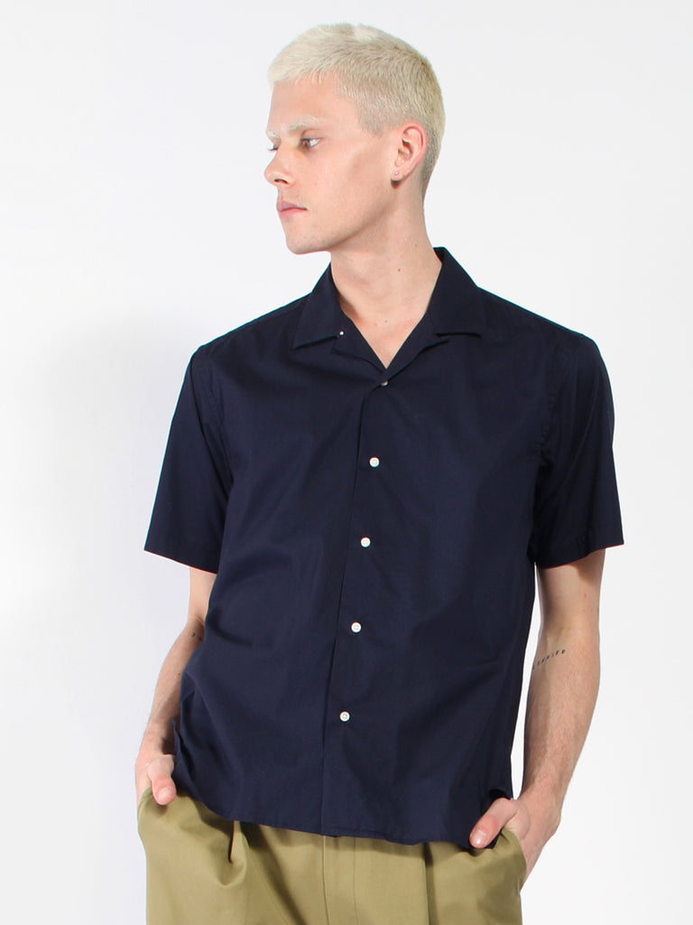 Short Sleeve Camp Shirt - Navy Washer Cloth by Gitman Vintage