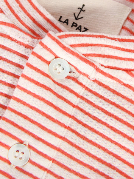 Ribas Henley - Coral Stripes by La Paz
