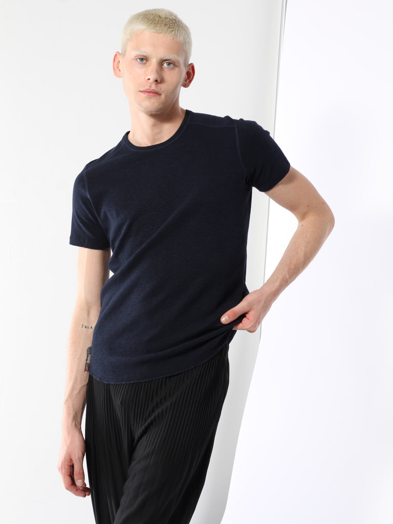 1x1 Slub Short Sleeve Crewneck - Navy by Wings and Horns