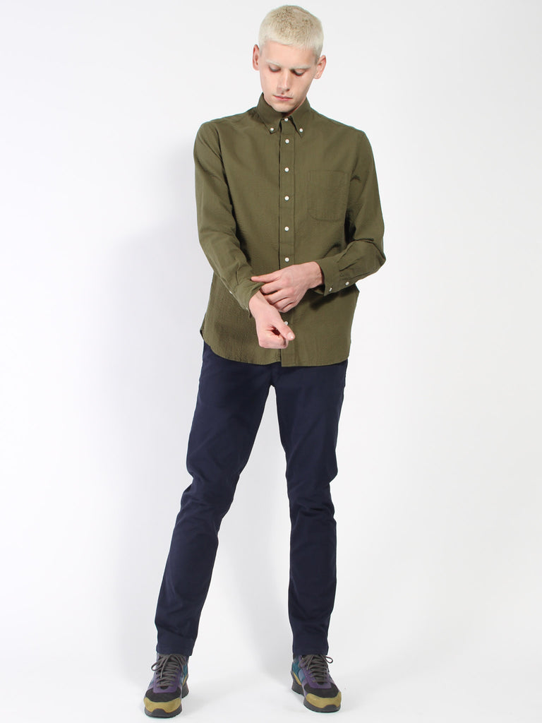 Long sleeve Buttondown - Olive Seersucker by Gitman Vintage