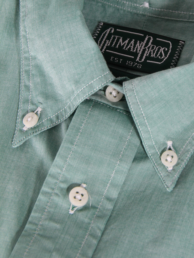 Short Sleeve Buttondown - Green Chambray by Gitman Vintage