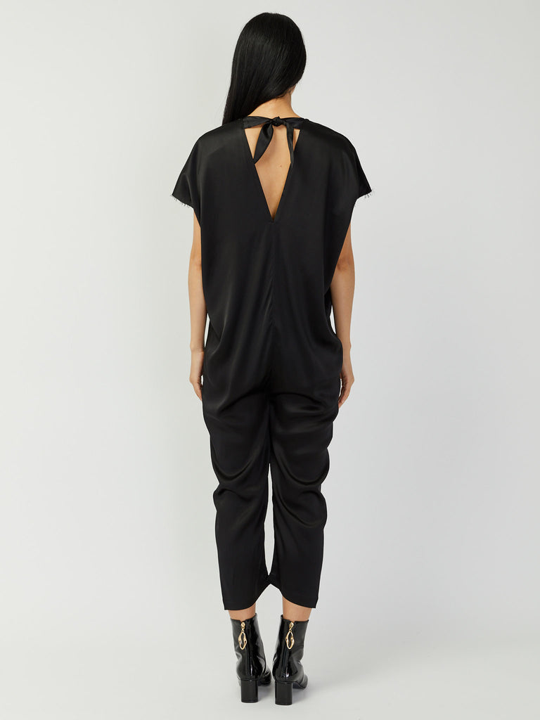 Everyday Silk Charmeuse Jumpsuit - Black by Miranda Bennett