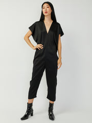 Everyday Silk Charmeuse Jumpsuit - Black