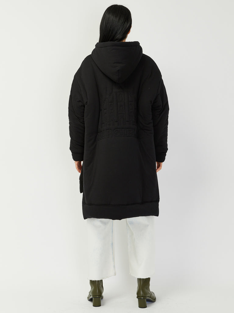 Embroidered Black Puffer by MM6 Maison Margiela