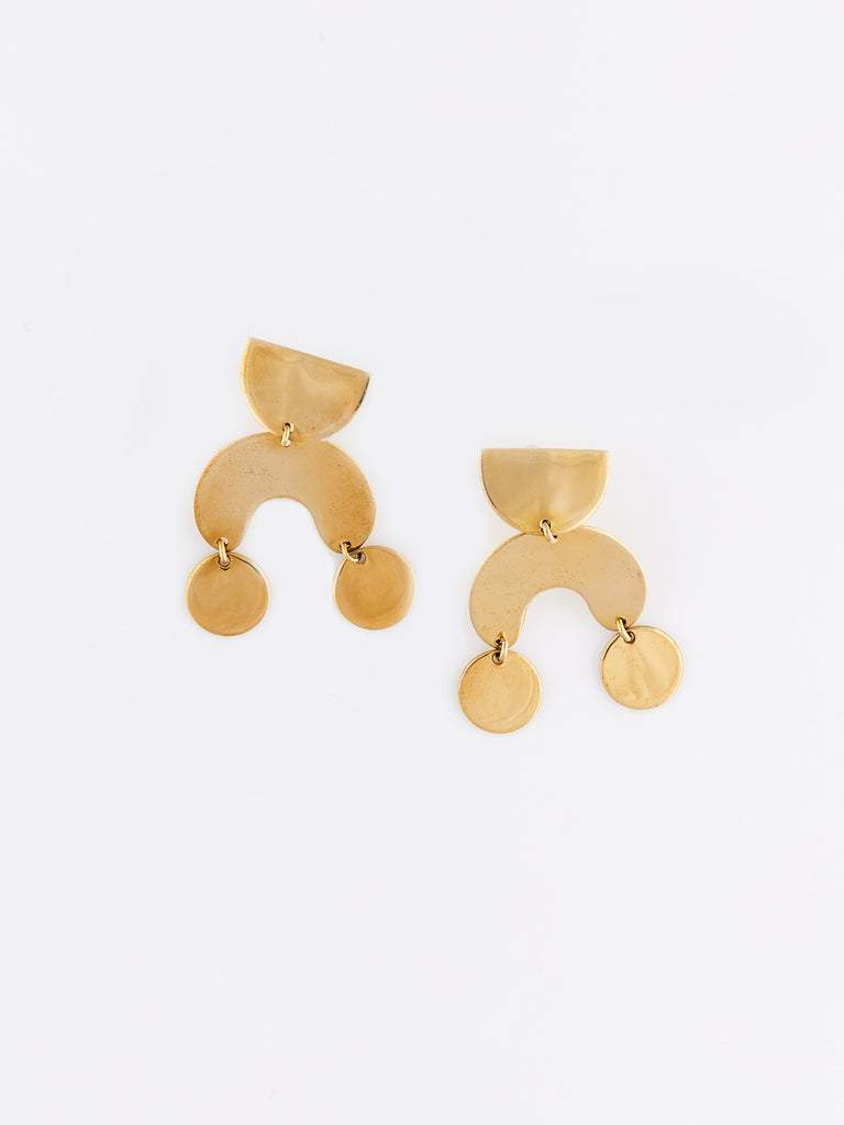 Teeny Tiny Moondancer Earrings - Brass by Modern Weaving
