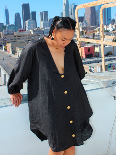 Button Up Shirt Dress - Black by Nancy Stella Soto