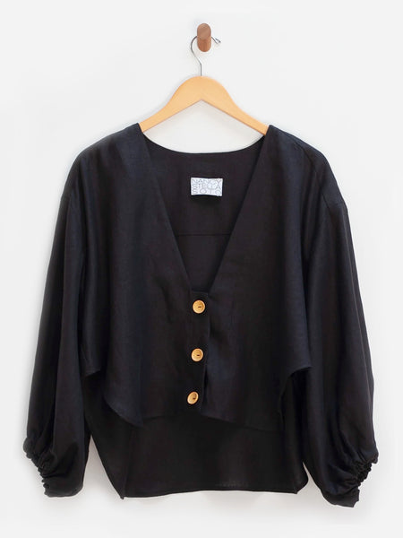 V-Neck Cropped Shirt - Black by Nancy Stella Soto