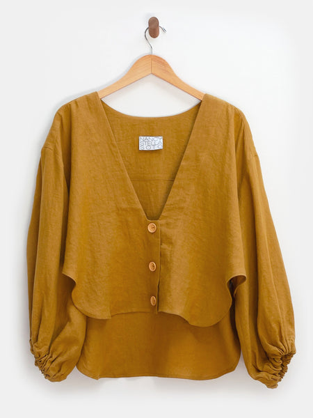 V-Neck Cropped Shirt - Ochre by Nancy Stella Soto