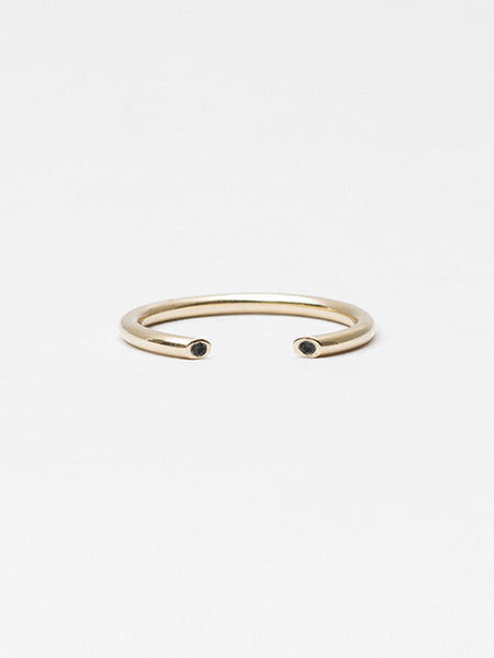 Olva Ring Gold with Black Diamond by Still House