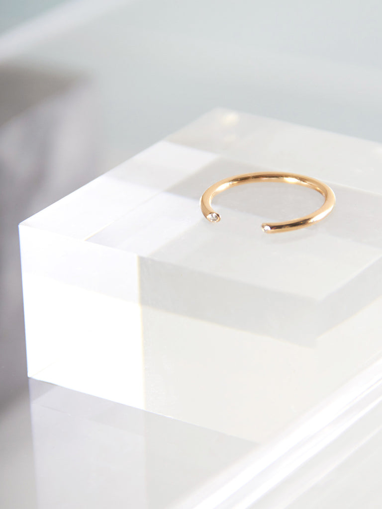 Olva Ring Gold with White Diamond by Still House