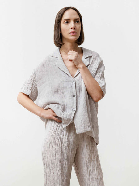 Bowling Shirt - Silver Linen by Priory
