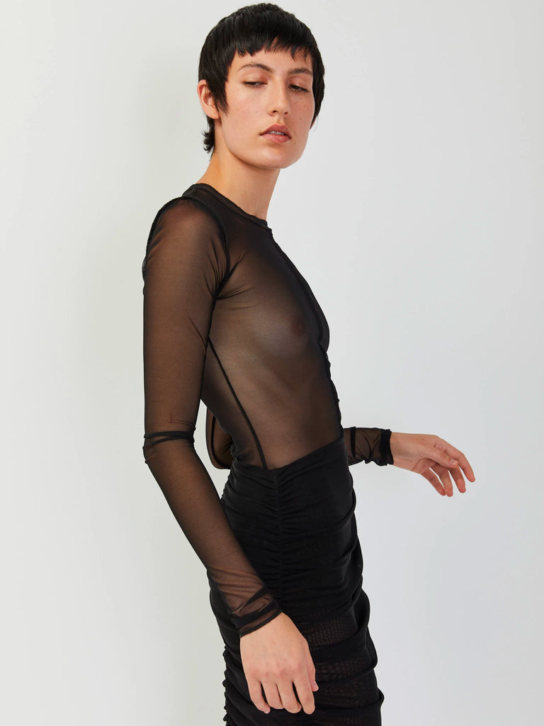 Paneled Mesh Top - Black by Priscavera