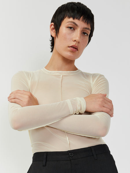 Paneled Mesh Top - Ivory by Priscavera