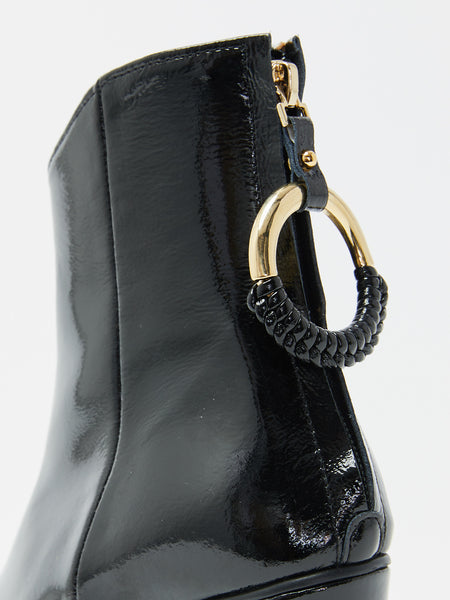 Oblique Turnover Ring Boot - Black by Reike Nen