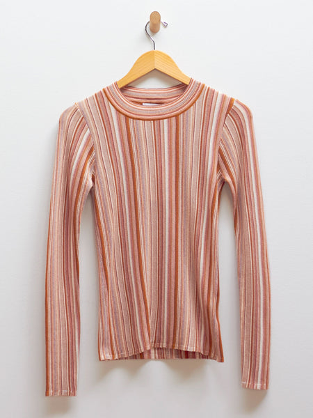 Vala Stripe Top - Faded Terracotta by Rodebjer