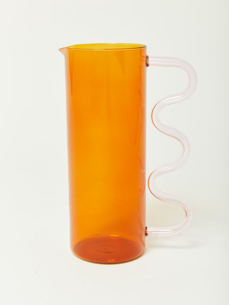 Wave Pitcher - Amber with Pink Handle by Sophie Lou Jacobsen