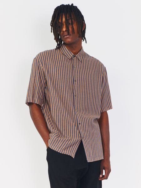 Striped Short Sleeve Shirt - Coffee by Robert Geller
