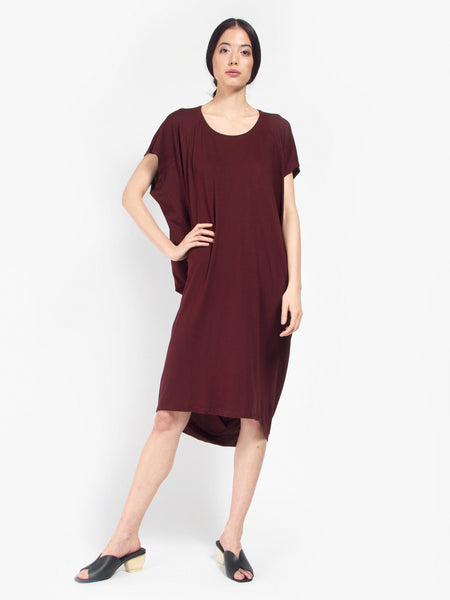 Building Block Drape Dress Burgundy by Kowtow